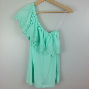 Crown & Ivy Mint One Shoulder Ruffle Top